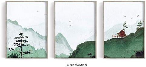 Wall Art Mountain Print Watercolour Landscape Forest Art prints Scandinavian Art Watercolor Set of 3 Prints Watercolor trees