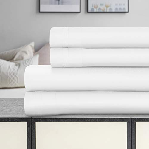 Blue Nile Mills Cesar 100% Egyptian Cotton Sheet Set, 1500-Thread Count, Silky Feel, Sateen Weave, Durable, Heavyweight, Fully Elasticized Fitted Sheet, Deep Pockets, Queen, Solid, White, 4-Pieces from Blue Nile Mills