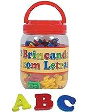 Brinquedo Pedagógico Brincando com As Letras 173 Peças Pote Pais e Filhos