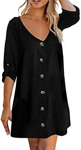Flowy Button Down Tunic DressJKioleg 3/4 Sleeve V Neck Mini Casual Solid Plain Dresses Blouse for Beach (M Black)