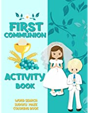 First Communion Activity Book: Catholic Coloring Book for Kids   Word Search   Maze   Sudoku   Gift for Boys and Girls