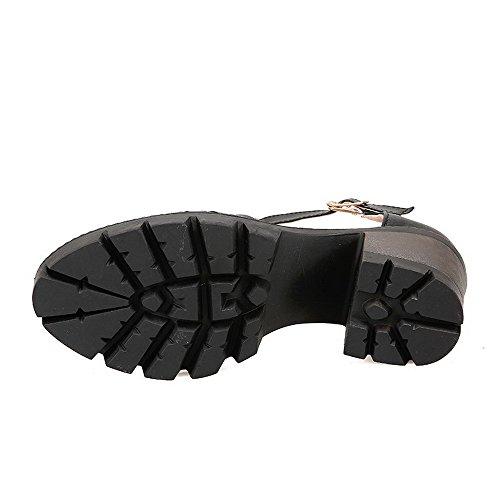 Allhqfashion Womens Tacco Chiuso Fibbia Pu Tacco Alto Pompe-scarpe Nere