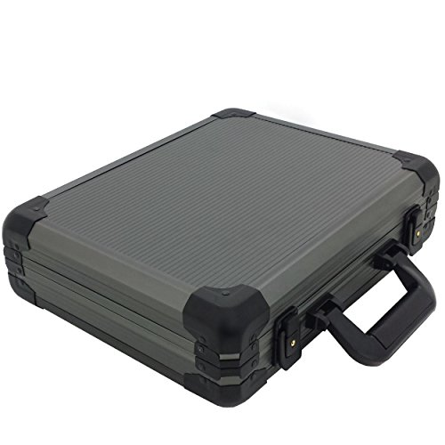 Watch Case Aluminum Briefcase for 18 Large Watches (Gunmetal Grey)