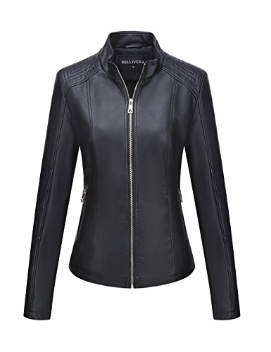 Bellivera Women's Faux Leather Casual Short Jacket,Moto Coat with 2 Zipper Pockets for Spring and - Leather Women Blazer