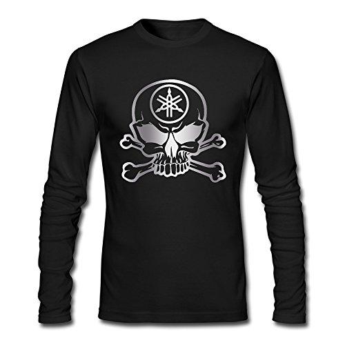 Men's Yamaha Motorcycle Racing Sk Platinum Style Long Sleeve T Shirt-Black