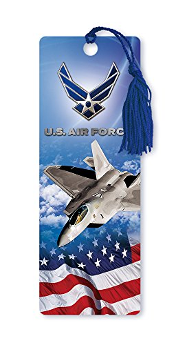 Jet Tassel (Dimension 9 3D Lenticular Bookmark with Tassel, U.S. Air Force Featuring F-22 Raptor Fighter Jet and American Flag (LBM033))