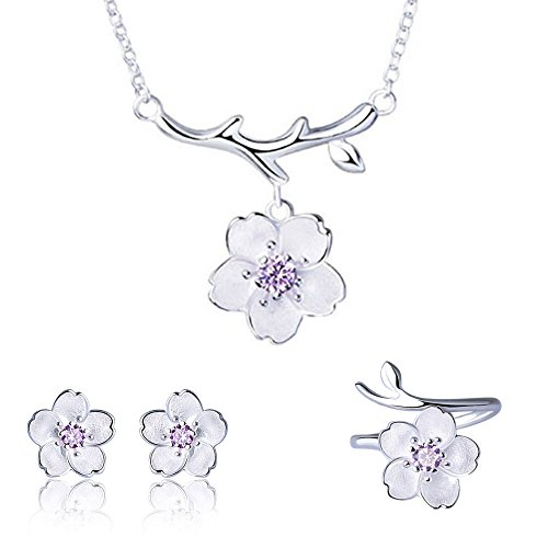 925 Sterling Silver Daisy/SAKURA/Snowflake Flower Crystal Pendant Necklace Earring Bracelets Ring Set for Women (Purple Crystal SAKURA flower) (925 Necklace Set)
