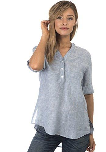 CAMIXA Women's Casual Button-up Popover Shirt Effortless Work to Weekend Basic XXL Blue Melange (Blue Linen Blouse)