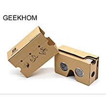 Google Cardboard V2.0, GEEKHOM VR Headset 3D Glasses Virtual Reality Glasses for 4-6 inch iPhone and Android Smartphones(Yellow)