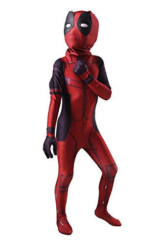 AOVEI Kids 3D Zentai Suit Cosplay Costume Halloween Bodysuit Onesie Spandex (Deadpool Cosplay Buy)