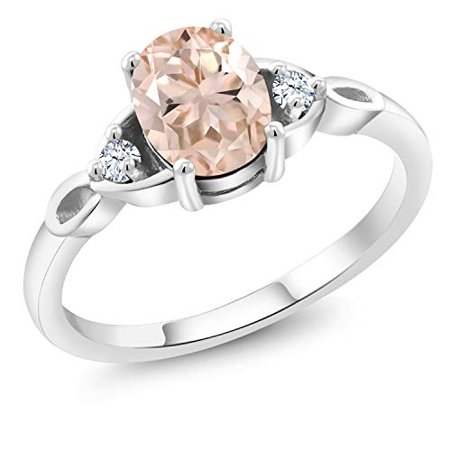 - Gem Stone King Peach Morganite and White Created Sapphire 925 Sterling Silver Women's Ring 1.08 Ctw Oval (Size 6)