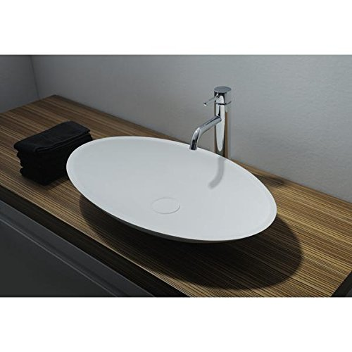 ID Jazz Solid Surface Vessel Sink Bowl Above Counter Sink Lavatory Washbasin (Small (24 in. W)) by ID Bath Collection