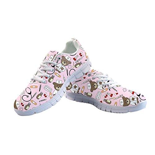 Abbracci Idea Gatti Stampati Donna Carino Casual Running Sneakers Tennis Shoes Nurse Bear 3