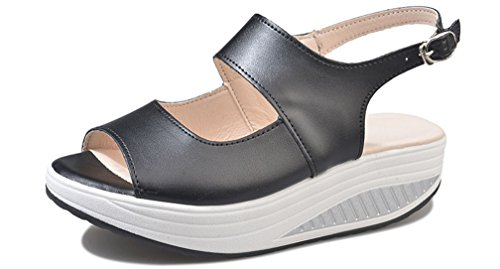 Scarpe Mocassini Zeppa con Donna Casual Sandali Sandali Comfort Camminare Infradito Hishoes con Estivi Nero Outdoor Scarpe per Pelle Sportive PY5xt8w