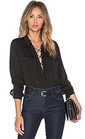 Moda Cordón Cordones Lazada Cuello en V con Bajo Ribete Posterior Escalonado Chifón Blusón Blusa Camisero Camiseta Camisa Top Arriba Negro 2XL