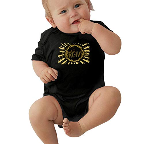 Liberated 4 Ever Jesus Christ Forgiven Crown of Thorns Forgiven, Jesus Among Other Gods,Gold Jesus Piece Chain Black Baby Short Sleeve Crawler 6M