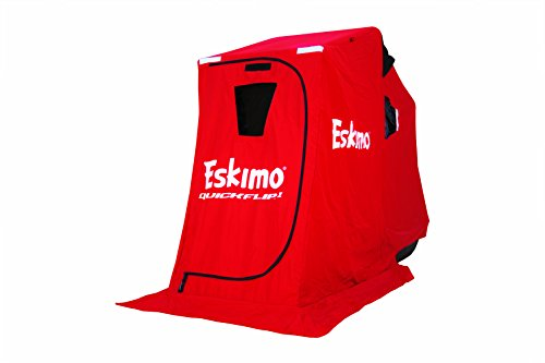 Eskimo QuickFlip 15300 QuickFlip 1 Portable Flip Style Ice Shelter with 50' Sled & Tripod Chair, 1 Person