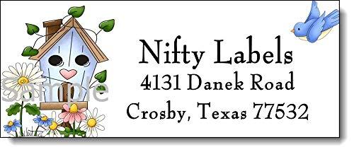 (tkniftylabel Birdhouse & Wildflowers #18 Return Address Labels)