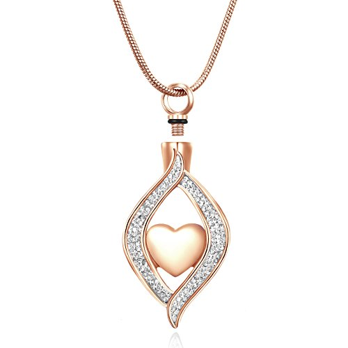 Rose gold Angel Eye Memorial Jewelry Cystal Ashes Necklace Cremation Urn Jewelry for Human Ashes - Heart Pendant Keepsakes- 20' Snake Chain+2' Adjustable Extension Chain+ Free Filling ()