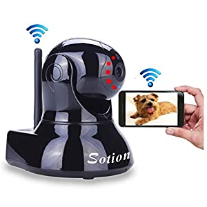 Sotion Video Baby Monitor, Wireless HD Pet Camera with Two Way Audio and Night Vision for Home/Indoor Security, Internet IP Surveillance WiFi Camera System with Motion Detection, Pan and Tilt 9