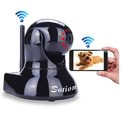 Sotion Video Baby Monitor, HD Wireless Pet Camera with Two Way Audio and Night Vision for Home/Indoor Security, Internet IP Surveillance WiFi Camera System with Motion Detection, Pan and Tilt (Best Lightweight Internet Security)