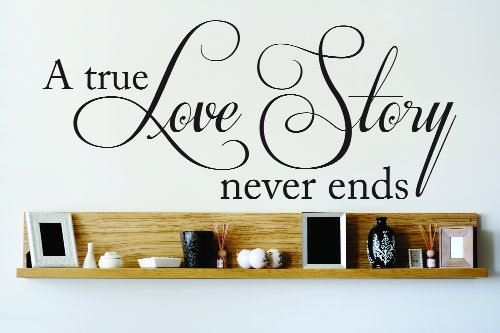 Design with Vinyl OMG 729 Black A True Love Story Never Ends Quote Lettering Decal Home Decor Kitchen Living Room Bathroom,  12x30-Inch, Black -