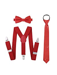 Boys Suspender Bowtie Necktie Sets - Accessories Set For Boys Kids Outfit (Red)