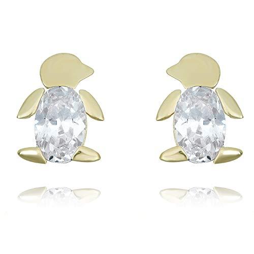 10K Yellow Gold Simulated Diamond CZ Penguin Earrings