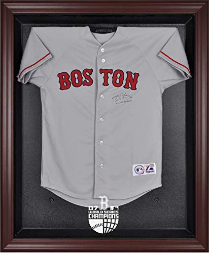 2007 World Series Logo Case - Boston Red Sox Mahogany Framed Jersey Display Case | Details: 2007 World Series Logo