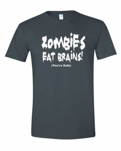 Men's Zombies Eat Brains You're Safe Funny Sarcastic T-Shirt-Charcoal-Medium (Halloween Jokes Funny One Liners)