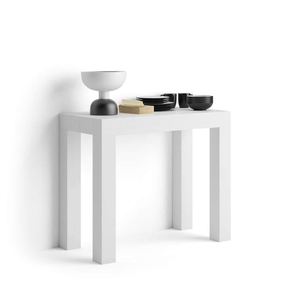 Mobili Fiver, Mesa consola extensible, modelo First, color blanco ceniza, 90 x