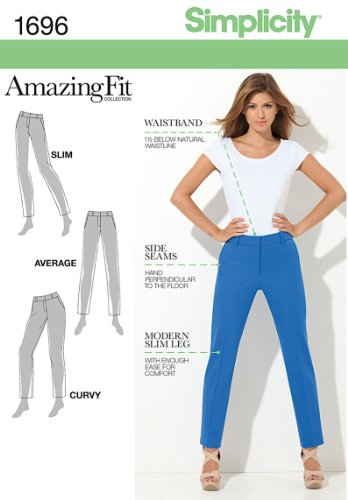Simplicity 1696 Misses Amazing Fit Pants Sewing Pattern Size R5 [14, 16, 18, 20, 22,]