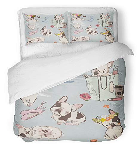 Emvency 3 Piece Duvet Cover Set Breathable Brushed Microfiber Fabric French with Little Cute Bulldogs Dog Animal Pug Girl Doggy Cartoon Glamour Bedding with 2 Pillow Covers Full/Queen Size by Emvency