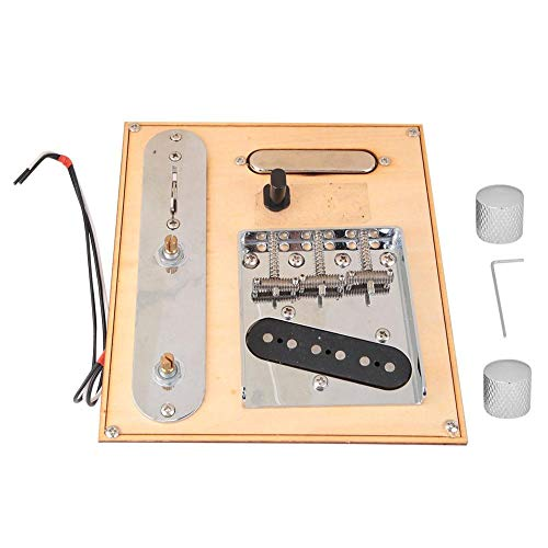 Alomejor Guitar Pickup Set with Guitar Bridge and Control Plate Wrench for Antiquity Guitar Pick Up Accessories(Black Chrome)