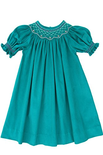 Girls Hand Smocked Winter Bishop Dress in Teal Corduroy