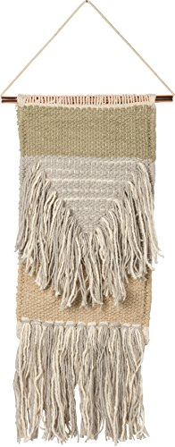 Woven Wall Hanging, Small ''Expedition'' Style, Fringe Tassel Banner - Boho Shabby Chic Bohemian Decor - Apartment Dorm Living Room Bedroom Baby Nursery Art Accent - 6''W x 16''L by Primitives by Kathy
