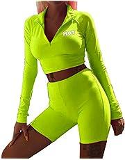 Tianhaik Conjunto de Gimnasio Deportivo Fluorescente para Mujer Top Corto de Manga Larga + Pantalones Cortos de Cintura Alta