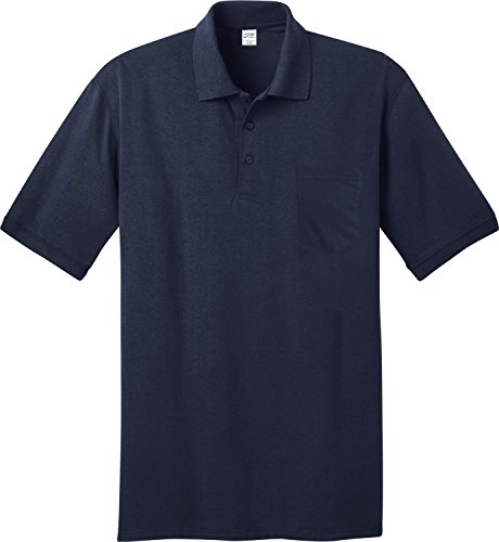 Men Comfortable Cotton Shirt (Port & Company Men's Comfortable Knit Pocket Polo Shirt Deep Navy)