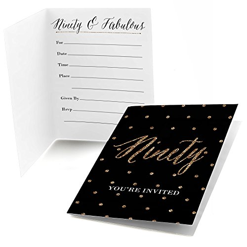 Chic 90th Birthday - Black and Gold - Fill In Birthday Party Invitations (8 (90th Birthday Invitations)