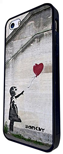 545 - Banksy Balloon Girl Graffiti Art Design iphone SE - 2016 Coque Fashion Trend Case Coque Protection Cover plastique et métal - Noir
