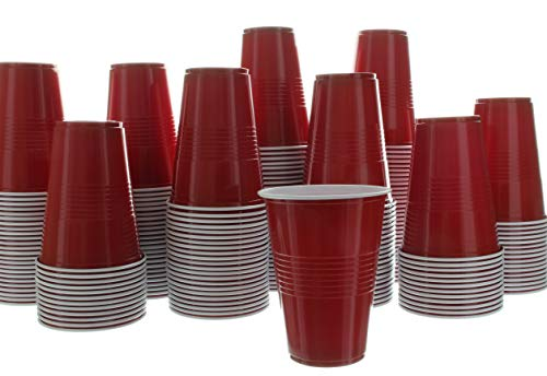 Impresserve Disposable Party Cups, 16 Ounce Red Plastic Drinking Cup for Cold Drinks, Sodas, Lemonades, Ciders, Beers, Cocktails, More, 100 Piece -