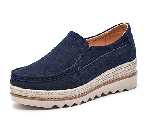 Suede Slip On Shoes - Rainrop Women Platform Slip On Loafers Shoes Comfort Suede Moccasins Fashion Casual Wedge Sneakers Blue 41