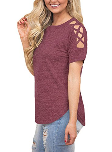 Astylish Women Sexy Cold Shoulder Cut Out Blouse Casual T Shirt Tops Red Large by Astylish