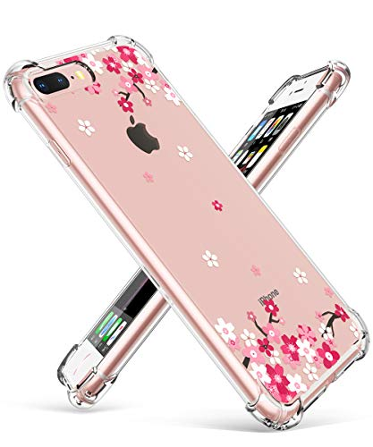 (GVIEWIN Clear Case for iPhone 8 Plus/7 Plus, Flower Pattern Design Soft & Flexible TPU Ultra-Thin Shockproof Transparent Floral Cover, Cases for iPhone 7 Plus/8 Plus 5.5 Inch 2018 (Peach Blossom/Pink))