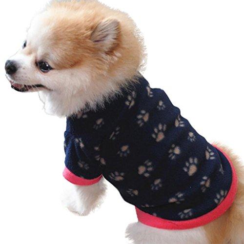 YOMXL Fashion Autumn Pet Clothes Dog Cat Villus Warm Vest Footprint Printed Puppy Doggy T-Shirts Tops Winter Apparel (L, Navy)