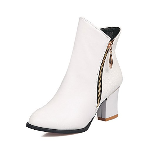 White Heels Imitated Solid Boots AdeeSu Leather Womens Chunky Zipper 8wqnnHaUR