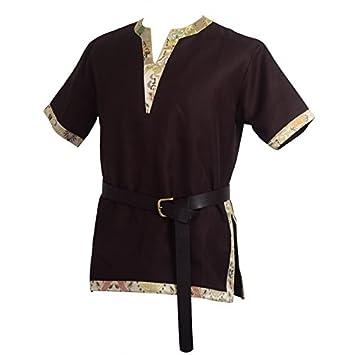BLESSUME Tunique Viking LARP Costume Aristocrat Chevalier Costume Avec Une  Ceinture en Cuir (Marron, 893f6276dfd