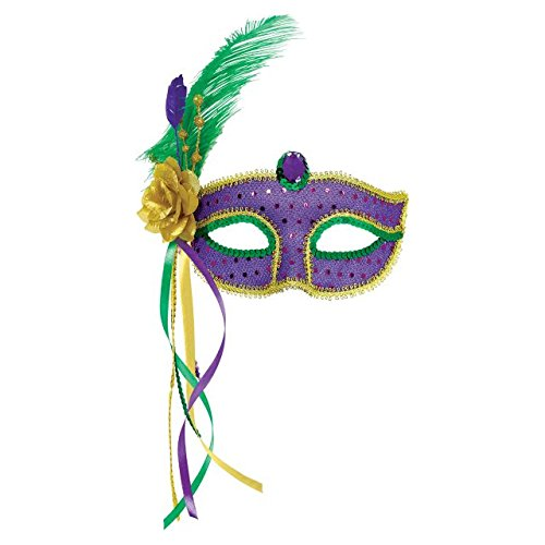 Amscan Mardi Gras Feather Mask Costume Party Accessory, 1 Pieces, Made from Plastic, Mardi Gras Theme Party, 4