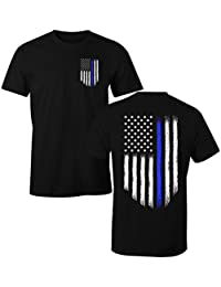 Thin Blue Line USA Flag LEO Police Support Men's T Shirt