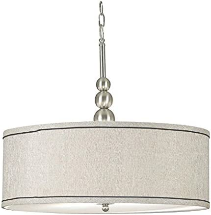 Kenroy Home 91640BS Margot 3-Light Pendant with Fabric Shade, Brushed Steel